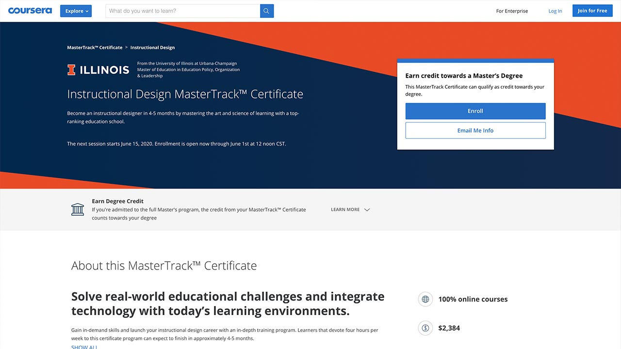 Instructional Design MasterTrack at Coursera